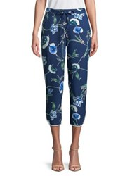 Ivanka Trump Cropped Floral Pants Santori Blue