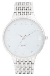 Women's Bp. 'Boyfriend' Bracelet Watch 42Mm Silver White