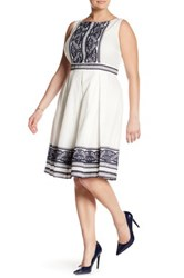 Taylor Embroidered Cotton Voile Fit And Flare Dress Plus Size White
