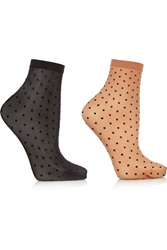Wolford Set Of Two Daria Polka Dot 20 Denier Socks