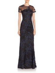 David Meister Floral Short Sleeve Gown Navy Black