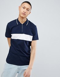 Selected Homme 1 4 Zip Polo Shirt With Block Panel Dark Sapphire Navy