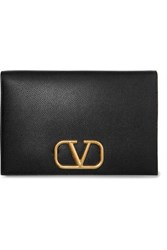 Valentino Garavani Go Logo Textured Leather Pouch Black