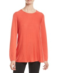 Eileen Fisher Tencel Silk Round Neck Sweater Plus Size Red Lory