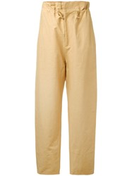Stella Mccartney Benni Trousers Women Cotton Linen Flax Polyamide 40 Brown
