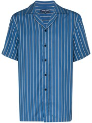Frescobol Carioca Striped Tencel Shirt Blue