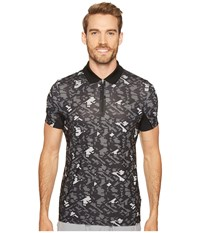 Lacoste Performance Ultra Dry Stretch All Over Pattern Polo Black Charcoal Grey Men's Clothing