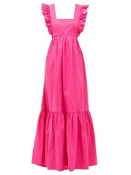 Self Portrait Ruffled Square Neck Cotton Maxi Dress Pink