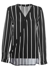 Quiz Black Stripe Cross Over Blouse