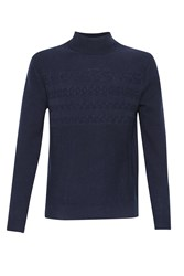 French Connection Men's Cable Stripe Knits Jumper Blue