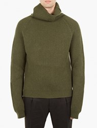 Haider Ackermann Green Shawl Neck Wool Sweater