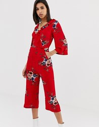 Ax Paris Floral Jumpsuit With Long Sleeve Red