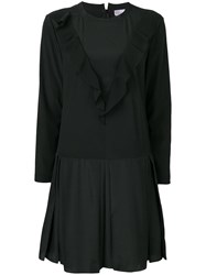Red Valentino Ruffled Front Shift Dress Black