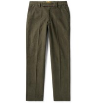 Saturdays Surf Nyc Panos Slim Fit Cotton Blend Dobby Trousers Army Green