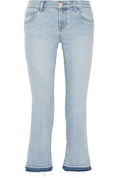 J Brand Selena Cropped Mid Rise Bootcut Jeans Light Denim