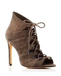 Dolce Vita Hanoa Lace Up Open Toe High Heel Booties 100 Bloomingdale's Exclusive Dark Granite