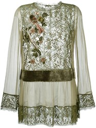 Alberta Ferretti Lace Semi Sheer Blouse Green