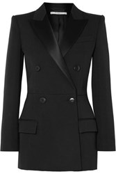 Givenchy Double Breasted Satin Trimmed Wool Blend Twill Blazer Black