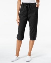 Karen Scott Petite Cotton Drawstring Capri Pants Only At Macy's Deep Black