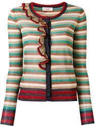 Jucca Striped Cardigan Women Cotton Polyester Metallized Polyester M Blue