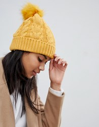 Oasis Cable Knit Beanie With Fur Pom Pom In Yellow