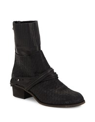 Free People Lexington Textured Leather Mid Calf Boots Black