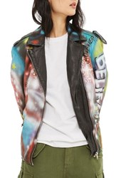 Topshop Women's Aries Graffiti Leather Jacket Black Multi