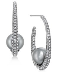 Danori Hematite Tone Pave And Gray Imitation Pearl Hoop Earrings Created For Macy's Rhodium