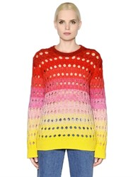 Kenzo Gradient Wool And Mohair Open Knit Sweater
