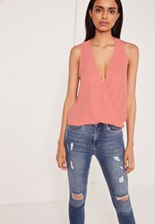 Missguided Wrap Front Sleeveless Blouse Rose Red