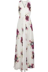 Mikael Aghal Floral Print Silk Crepe De Chine Gown Multicolor