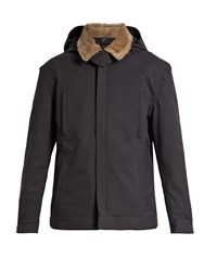 Norwegian Rain Shearling Collar Padded Technical Jacket Navy Multi