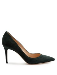 Gianvito Rossi Point Toe Suede Pumps Dark Green
