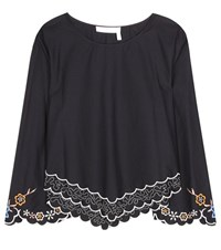 See By Chloe Embroidered Cotton Blouse Blue