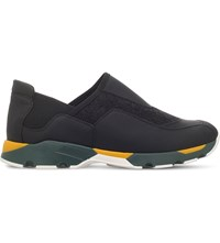Marni Slip On Leather Trainers Black Comb