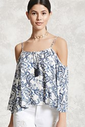 Forever 21 Paisley Open Shoulder Top Blue White