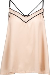 Cosabella Sophisticated Chiffon Trimmed Satin Camisole Beige