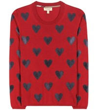 Burberry Printed Wool Sweater Red