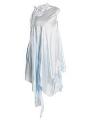Vetements Deconstructed Silk Satin Slip Dress Light Blue