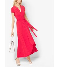 Cap Sleeve Wrap Dress True Red