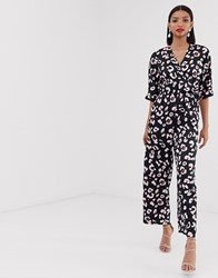 Liquorish Wrap Front Jumpsuit In Navy Leopard Print