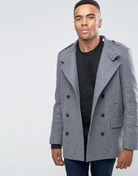 New Look Wool Military Peacoat In Grey Light Grey