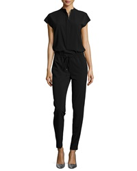 Vince Zip Front Cap Sleeve Jumpsuit Black