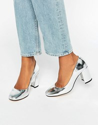 Dune Abell Silver Mirror Leather Square Toe Heeled Shoes Silver Mirror Leathe