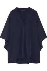Hatch Notched Crepe Blouse Storm Blue