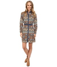 Roper 9902 Aztec Printed Poplin Shirt Dress Brown Women's Dress