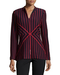 Misook Long Sleeve Stripe Cardigan Navy Red