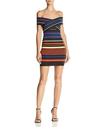 Wow Couture Striped Off The Shoulder Dress Black