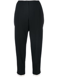Alexander Mcqueen Cropped Tailored Trousers Women Silk Polyamide Cupro Wool 44 Black