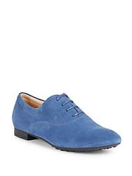 Tod's Almond Toe Lace Up Flats Blue